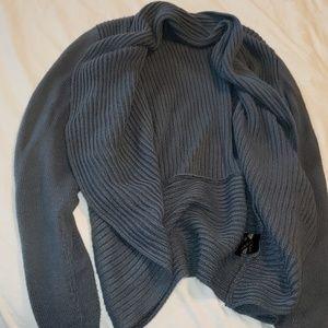 Slate blue casual cardigan sweater